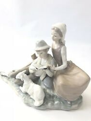 Lladro Shepard Couple W Lamb Reading 11x8.5x7 Hand Made In Spain
