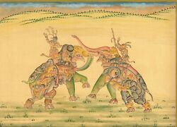 Handmade Indian Miniature Painting Of Assembled Elephant Fighting Art On Paper