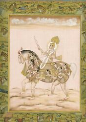 Handmade Indian Miniature Painting Of Lord Riding On Composite Horse With Women