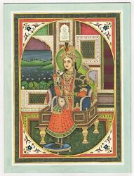 Mughal Painting Miniature Portrait Of Empress Nur Jahan Real Gold And Stone Work