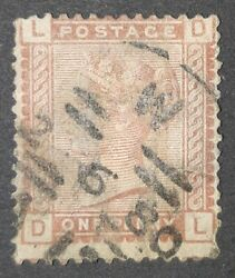 Gb Victoria 1d Venetian Red Sg166 One Penny Dl Good Used 1880 Stamp