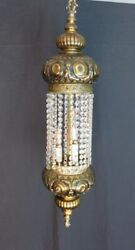 3 Light Vintage Brass/bronze Hanging Swag Lamp/chandelier With Crystals