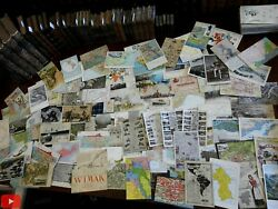 Cartography Post Cards C.1900-1950 Lot Of 100 Maps City Plans Cartoon Style