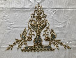 Huge 19th Antique Ottoman Turkish Gold Metallic Hand Embroidery F Applique 42cm
