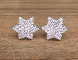 1.48ct Natural Round Diamond 14k Solid White Gold Screw Back Star Stud Earring