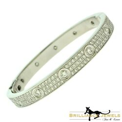 AUTHENTIC CARTIER Love Bracelet Diamond-Paved 18k White Gold Size 16 (C-356)