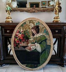 Beautiful Antique Folk Art Oil Painting Oval Portrait Of A Woman Playing Piano