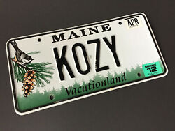 Real 2012 Maine State License Plate - Used Personalized K0zy Car Tag Name