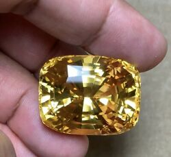 King Size Unheated 'Golden Yellow Sapphire' 155ct Cushion -Clean Gem -GRS Cert