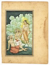 Indian Miniature Painting King In Dreams With His Dream Lady Gouache - Artwork