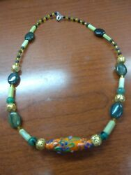 Native American Green and Yellow Jade Crystal and Glass Necklace