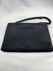 Mid Century After 5 Evening Bag Black Satin Purse with Attached Coin Purse $19.95