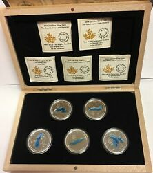 2014/2015 Canada 20 Silver Colorized Five-coin Proof Set - The Great Lakes Ogp