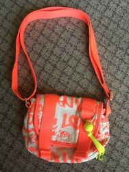 TEEN VOGUE GLORIA Canvas And Neon Orange CROSSBODY GIRLS BAG Preowned $10.99