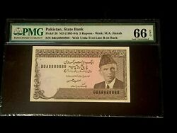 1983ndpakistan, State Bank 5 Rupees P-38 Solid 8888888 Pmg 66 Epq