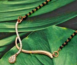 0.92ct Natural Round Diamond 14k Solid Yellow Gold Mangalsutra Necklace