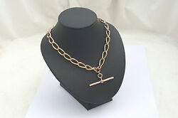 Rare Edwardian Hm 9ct Solid Gold Albert Necklace With T Bar 43.6g