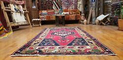 Antique Cr1930-1939s Multi-colored Wool Pile Tribal Rug 4and039x8and0393