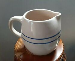 Vintage 7 Blue Ring Jug Pitcher Stoneware Paul Storie Pottery Marshall Texas