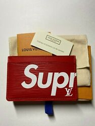 Louis Vuitton X Supreme Red EPI Leather CARD HOLDER 100% AUTHENTIC #M67712