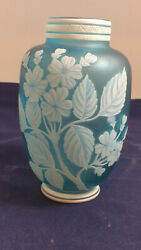 Antique Thomas Webb And Sons Opaque To Blue Cameo Art Glass Vase