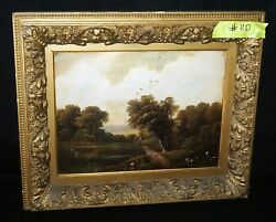Antique European Framed Oil Painting Country Road And Bridge By F. Davies