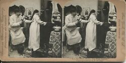 Stereoview Photo Wife Protecting Man With Old Crow Rye Whiskey Bottle