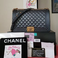 Chanel Boy iridescent dark grey New Medium Bag w receipt card
