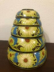 Vintage Mexican Tlaquepaque Pottery Nesting Bowls 5 Set Floral Abstract Design