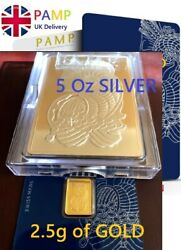 Pamp 5 Ounce Silver Bar .999 Certificated Includes 2.5 G Pamp Gold Investment