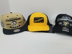 3 Pittsburgh Penguin Baseball Hats 2009 And 2016 Stanley Cup Champions