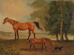 112613 Painting Animal Marshall Broodmare Foal Terrier Laminated Poster Ca
