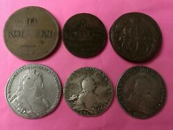 Collection 6 Russian Coins Silver 1 Rouble - 1732 And 1748 And 1754 And 3 Cooper Coin