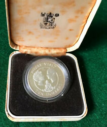 1983 Silver Cayman Islands Royal Visit Commerative Coin Rare -t