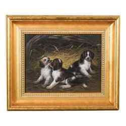 Samuel Raven Early 19th Century Playful PuppiesDogs Playing 1820's