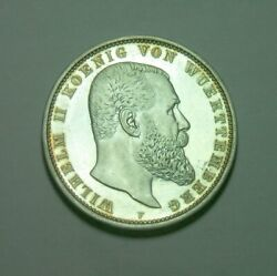 Germany Wurttemberg 1908 5 Mark Large Silver Proof , Very Rare