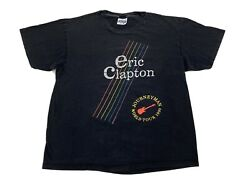 Vintage Eric Clapton 1990 Concert T-shirt 2-sided Journeyman World Tour Guitar