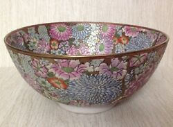 Vintage Chinese Multicolor Embossed Floral Design Porcelain Bowl 10.25andrdquox 5andrdquoh
