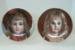 Doll Face Seely Collectible Pair Of Plates Set Of Two Antique Dolls 8.5 X 8.5