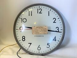 Vtg General Time Corporation Stromberg Autoset Slave Wall Recessed Clock 14