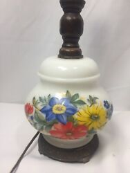 Accurate Casting Parlor Table Lamp Base Primary Floral For Parts Repurpose