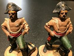 Antique Hubley Cast Iron Pirate Bookends With Gun And Knife