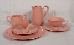 Extremely Rare Antique Lenox China Classic Coral 9 Piece Breakfast Set Mint