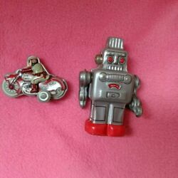 Japanese Rare Tin Toy Set Motercycle And Wind-up Robot Retro Made In Japan T0