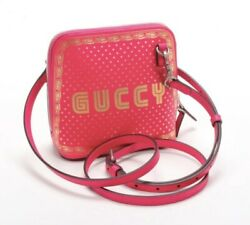 GUCCI SEGA PRINT LIMITED EDITION PINK GOLD LEATHER DOME CROSSBODY BAG $1,050.00
