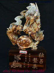 Old China Xiuyu Jade Dragon Tortoise Loong Turtle Bird Red-crowned Crane Statue