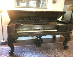 Antique Chickering And Sons Square Rococo Style Grand Piano And Stool 1880-1885