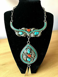 Navajo Native American Large Sterling Silver Turquoise Coral Necklace Signed