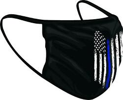Tattered Thin Blue Line American Flag Police Officer Face Mask Shield