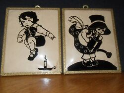 Reverse Paint Convex Glass Jack Be Nimble And Mary Quite Contrary Nursery Rhyme